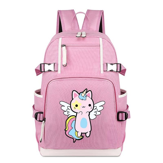 ade5061881 Kawaii Cat Unicorn Fly School Bag Pink Backpack Student Notebook Daily