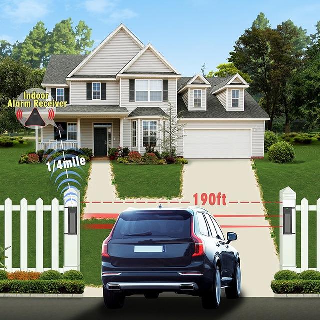 Solar Wireless Driveway Alarm System  1/4 Mile Long Transmission Range  190 Feet Wide Sensor Range  No Wiring No Need Replace