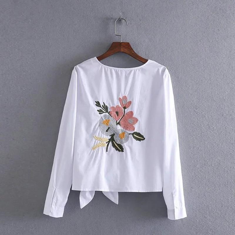 Women Cotton Tops Fashion White Blouse O Neck Bow Back