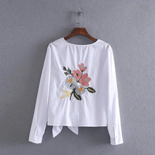 women cotton tops fashion white shirt O neck bow back flowers embroidered shirt female
