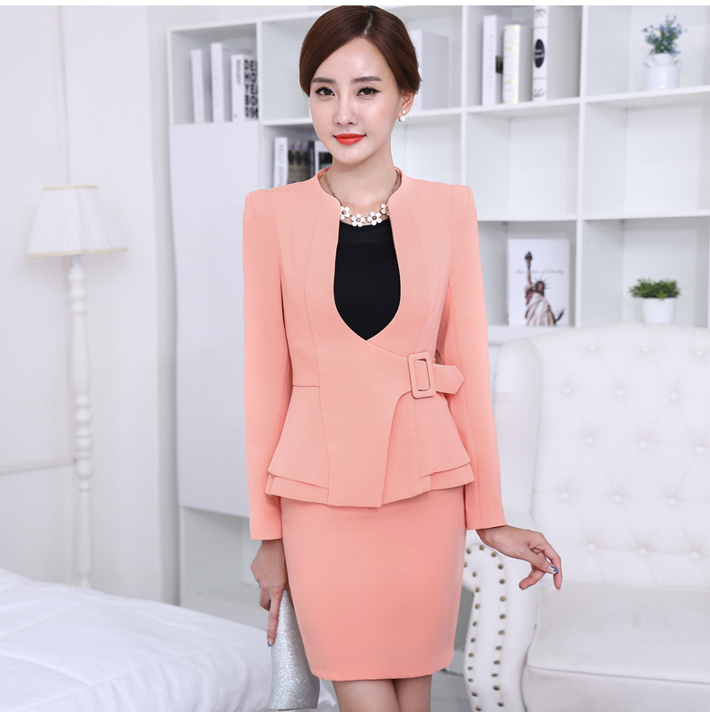 877f41510b3 New Autumn fashion women ruffles skirt suits career OL blazer ...