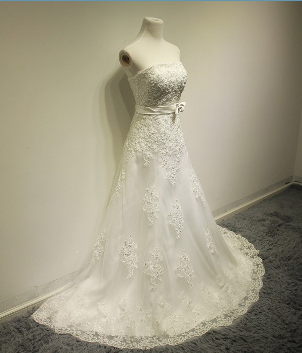 free shipping romantic vestido de noiva robe de mariage 2018 new fashionable bow lace appliques long wedding dress bridal gown in Wedding Dresses from Weddings Events