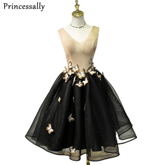 9c47d94bdf Evening Dress Short V neck Sleeveless Butterfly Luxury Tulle Retro Short  Formal Prom Dress Elegant Bride Banquet Robe De Soiree