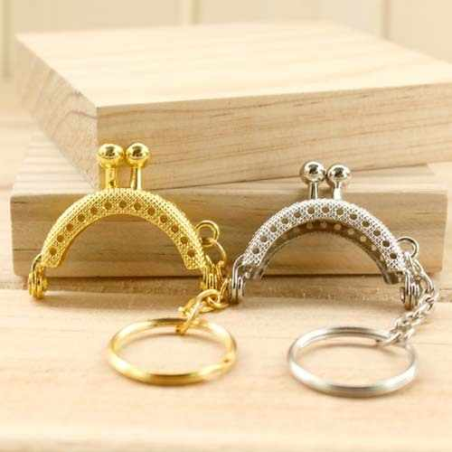 k165 4cm highly Q Mini Small pendant key ring Metal Purse frame Kiss Clasp Lovely semicircle Metal-opening Bags 3pcs/lot
