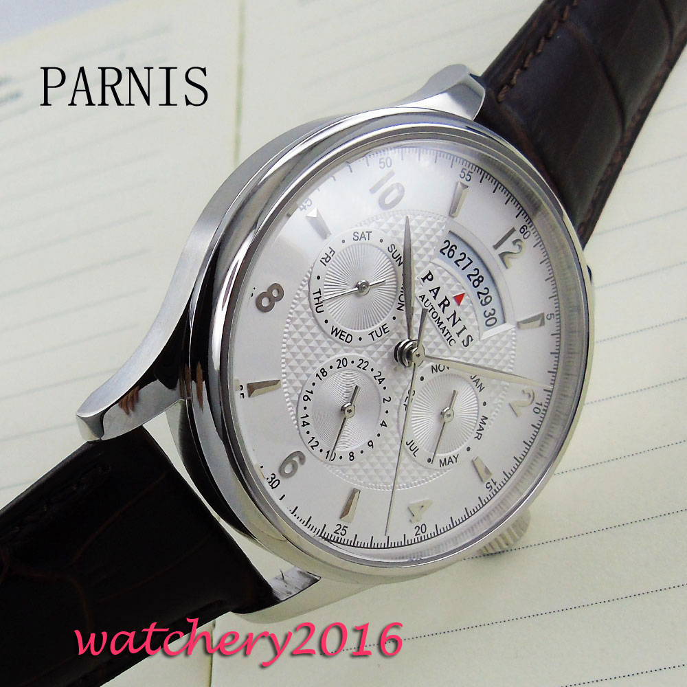 42mm Parnis white dial Automatic day date man watches 2017 brand luxury miyota 9120 movement Mens Wrist Watch luxury brand 42mm parnis black dial white dial date 24 hour power reserve moon phase miyota 9100 automatic mens wrist watch p560