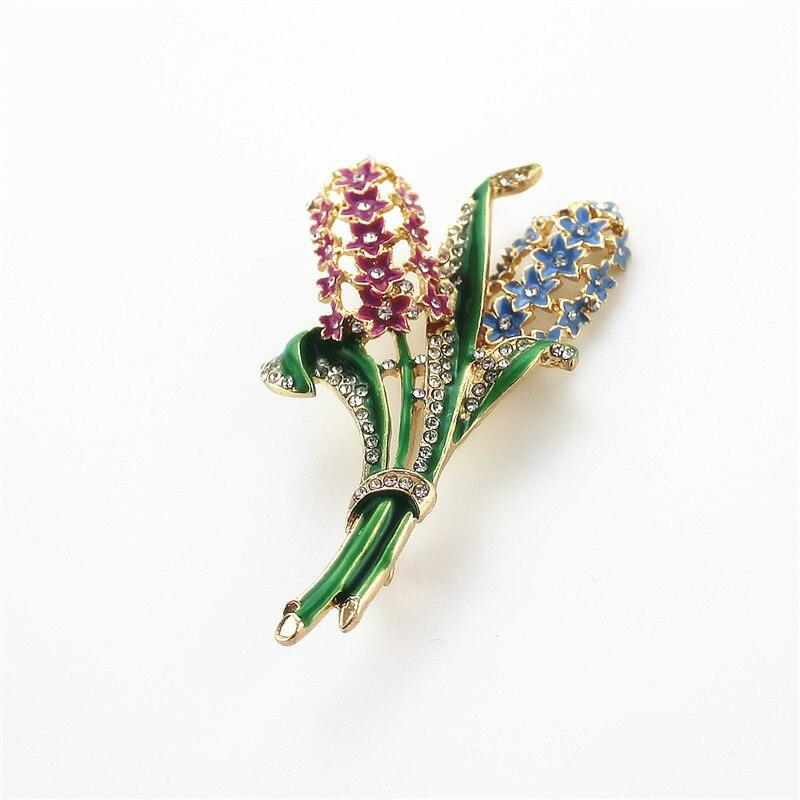 ⑦Xq envío libre MS moda nueva esmalte Jacinto flor broche el nuevo ...