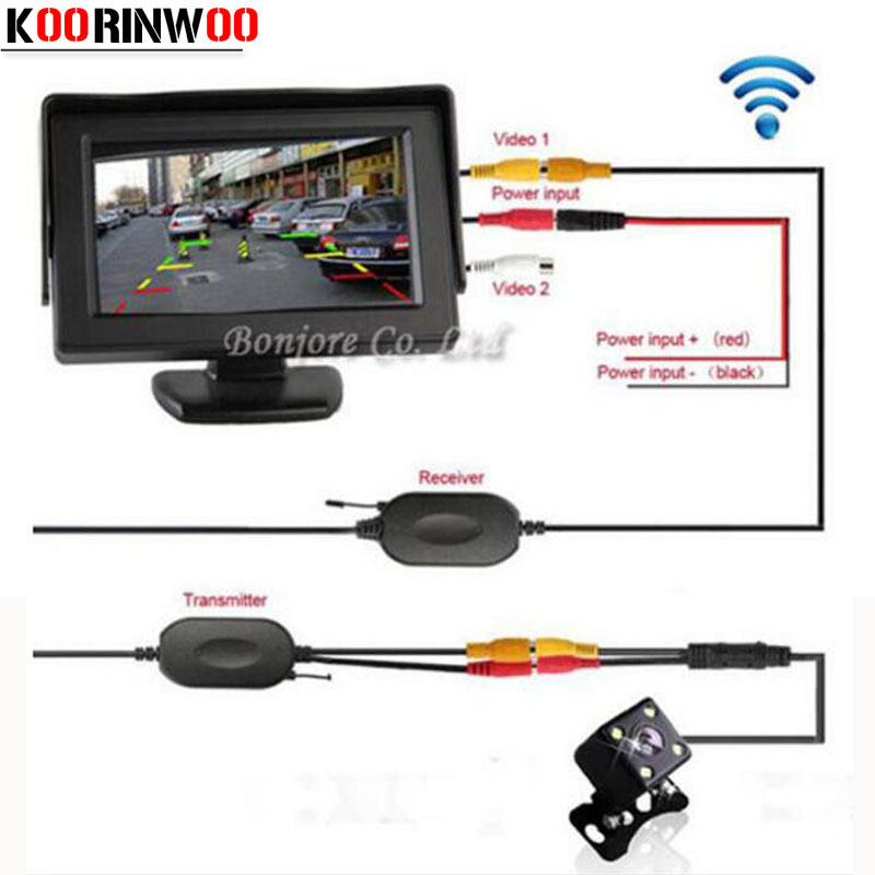 Koorinwoo Parking Assist 2.4G Wireless 4.3 Inch TFT LCD Monitor Cermin Mobil Rear view camera Reverse Malam Visi Sensor
