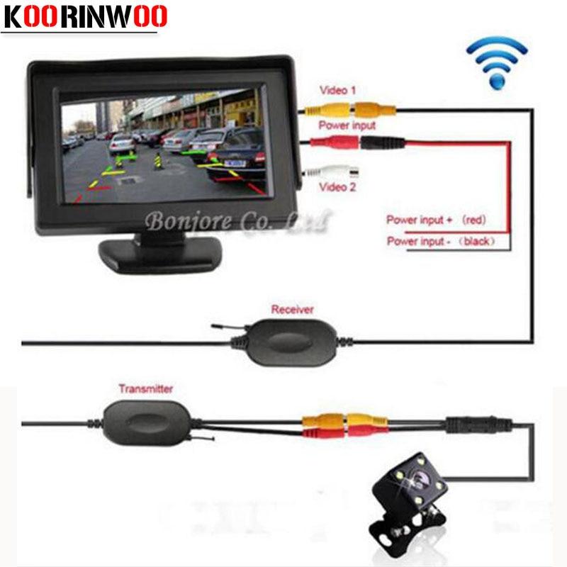 Koorinwoo parkimisabi 2.4G traadita 4,3 tolli TFT LCD peegelmonitor Auto tagantvaate tagurpidi öise nägemise ööandur