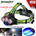 High Quality  3x XM-L T6 White+2x R2 Blue LED 18650 Headlamp Headlight Torch Flashlight Lamp