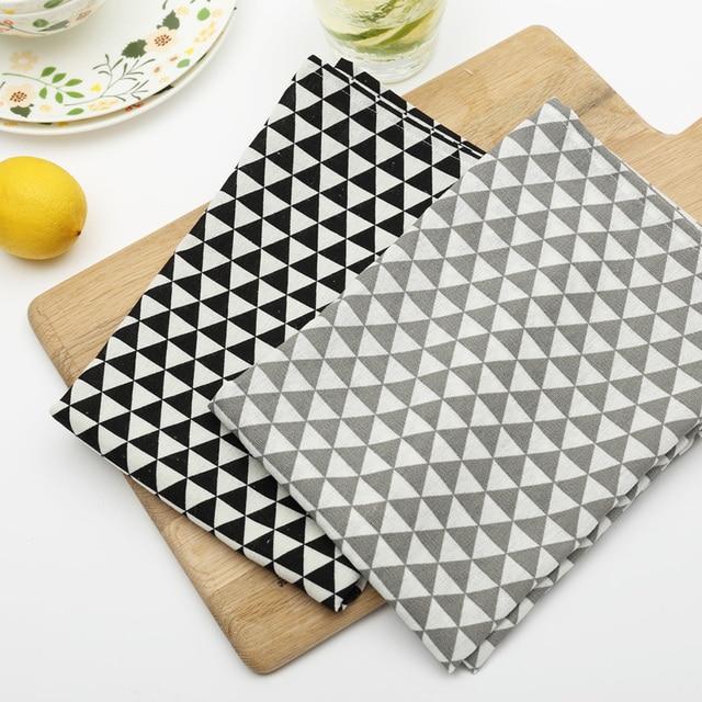 kitchen napkins islands with wheels nordic geometric pattern classic print cotton 6 pcs thick mat suit diner napkin tea towels table