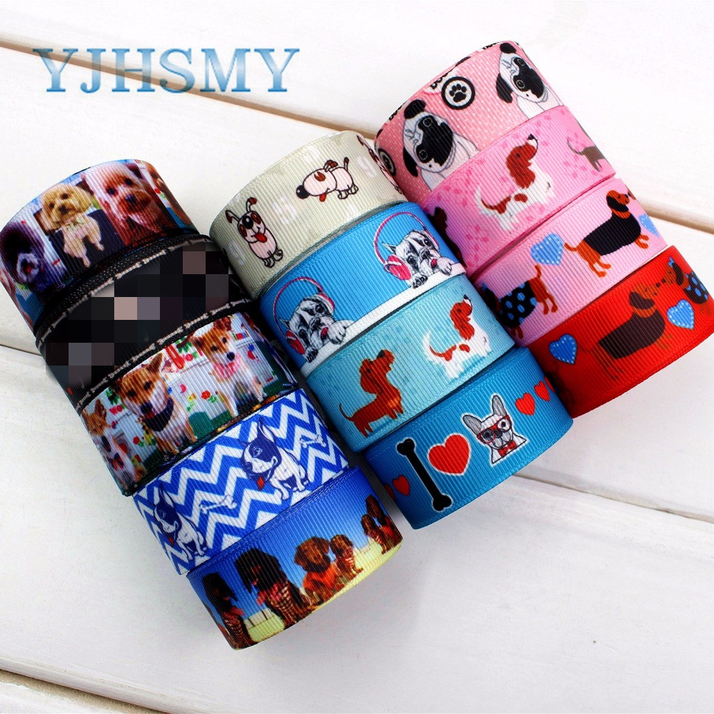 YJHSMY D-17331-1146,10 yards,22 mm Cartoon dog Printed grosgrain ribbon Wedding Accessories,gift wrap,DIY handmade Material image