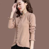 Fashion Knitted Cardigan Sweater Women Coat Long Sleeve Plus Size 3XL Sweater Casaco Feminino Elegant Slim Ladies Tops Coat Q678