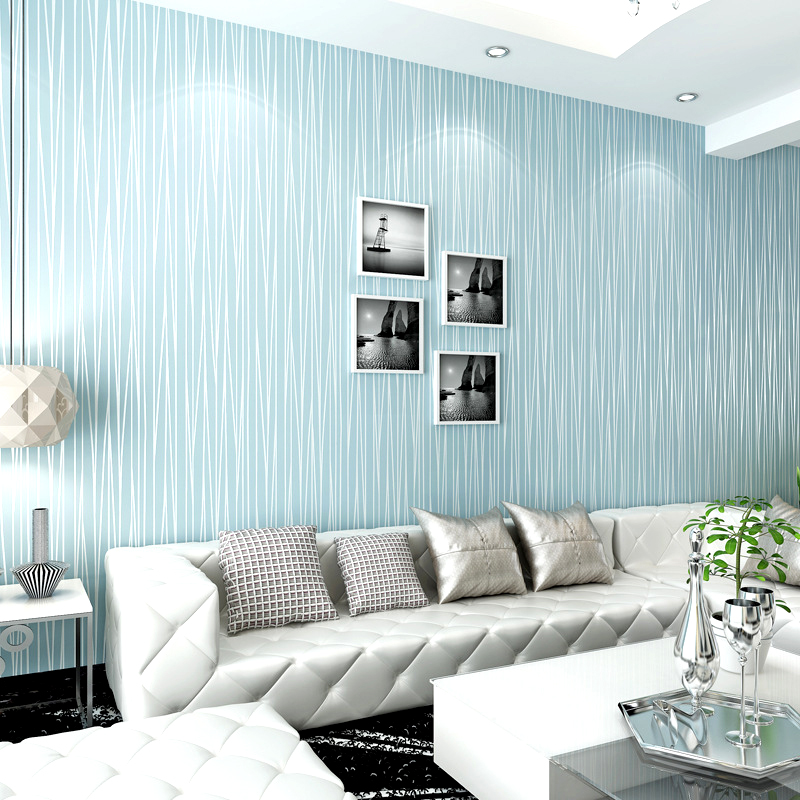 Moonlight non-woven wallpaper solid color plain 3d stripe tv background wall wallpaper