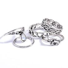10Pcs/Set Retro Boho Elephant Flower Moon Above Knuckle Midi Finger Ring Jewelry