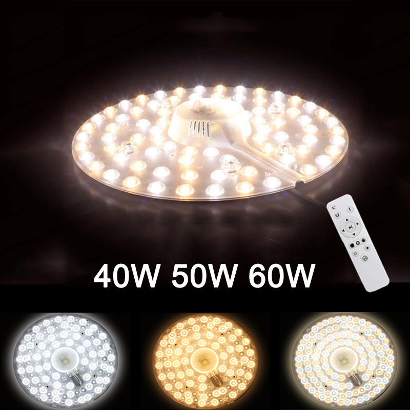 Remote Control Replaceable LED Light Source For Ceiling Three Color 40W/50W/60W 185V-240V With Magnet Led Lights Replacement