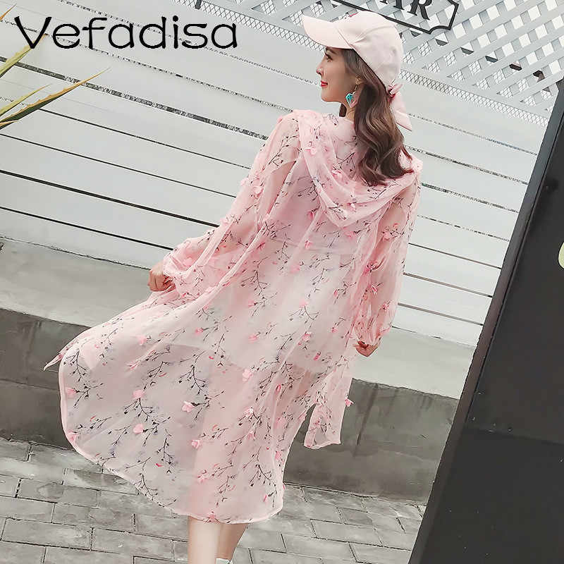Vefadisa Flower Print Sun Proof Coat Pink Blue Women Cotton Single Breasted Closure Coat Women Summer Hooded Coat ZQY019A