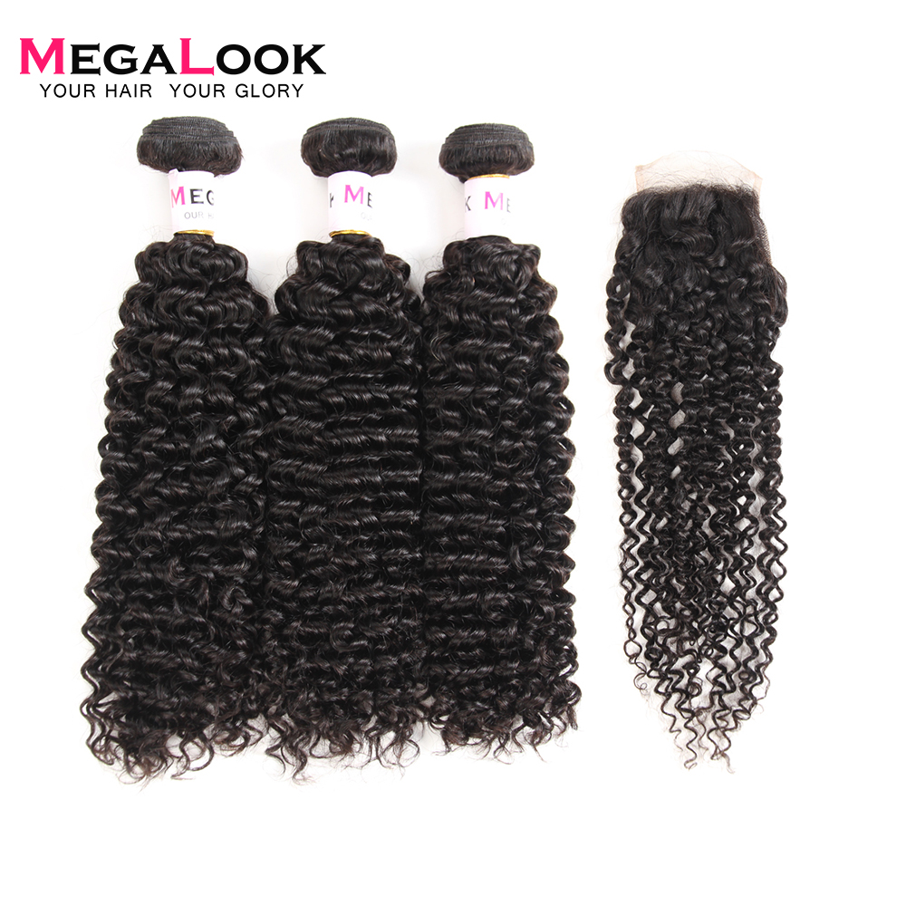 Megalook Brazilian Kinky Curly Human Hair Bundles with Closure 100 Remy Human Hair Bundles with Closure