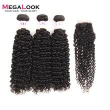 Megalook бразильские кудрявые человеческие волосы пряди с закрытием Remy человеческие волосы пряди с закрытием