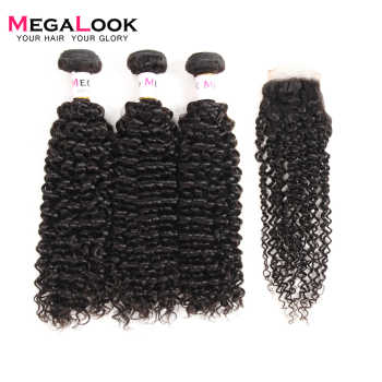 Megalook Brazilian Kinky Curly Human Hair Bundles with Closure 100% Remy Human Hair Bundles with Closure - DISCOUNT ITEM  49% OFF All Category