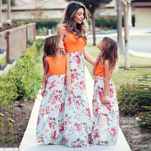 Family Look Modal Cotton Floral Print Short Sleeve Summer Season Mother Daughter Dresses Famliy Mommy and Me Long Dress