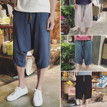 In National Customs Mens Wear Cotton Flax Loose Summer 2018 Slacks With Wide Legs Male Seven Part Pants Free shipping