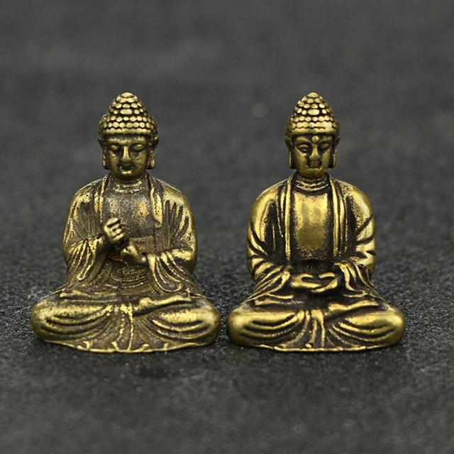 Mini Portable Retro Brass Buddha Zen Statue Pocket Sitting Buddha Hand Toy Sculpture Home Office Desk Decorative Ornament Gift 1