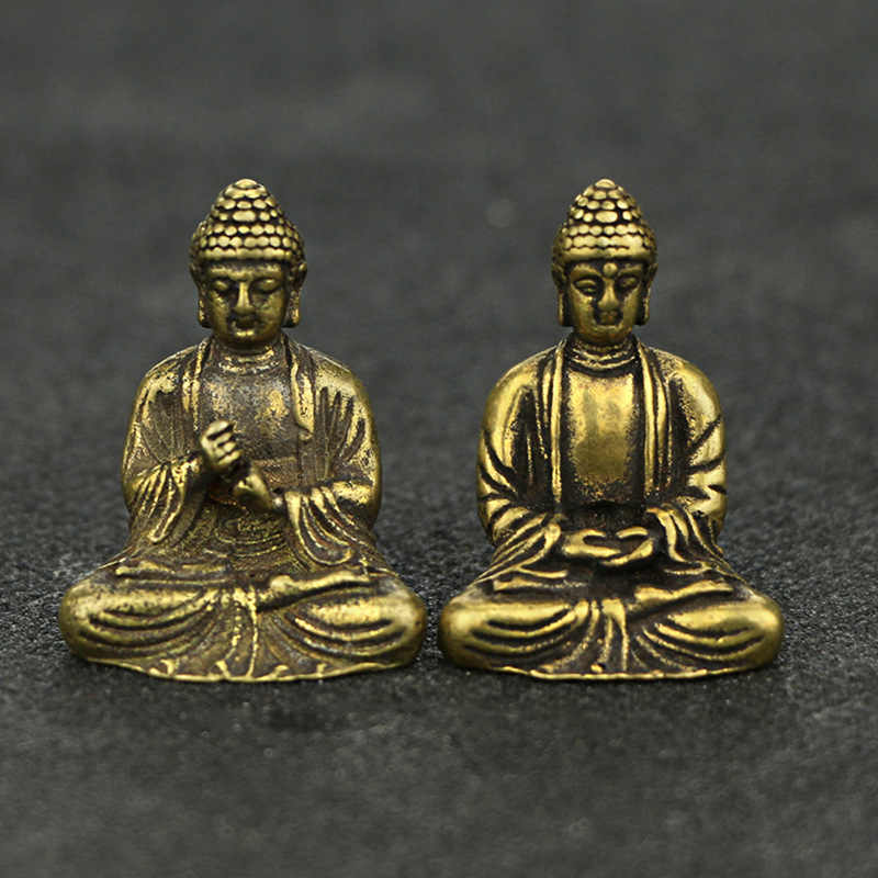 Mini Portable Retro Brass Buddha Zen Statue Pocket Sitting Buddha Hand Toy Sculpture Home Office Desk Decorative Ornament Gift