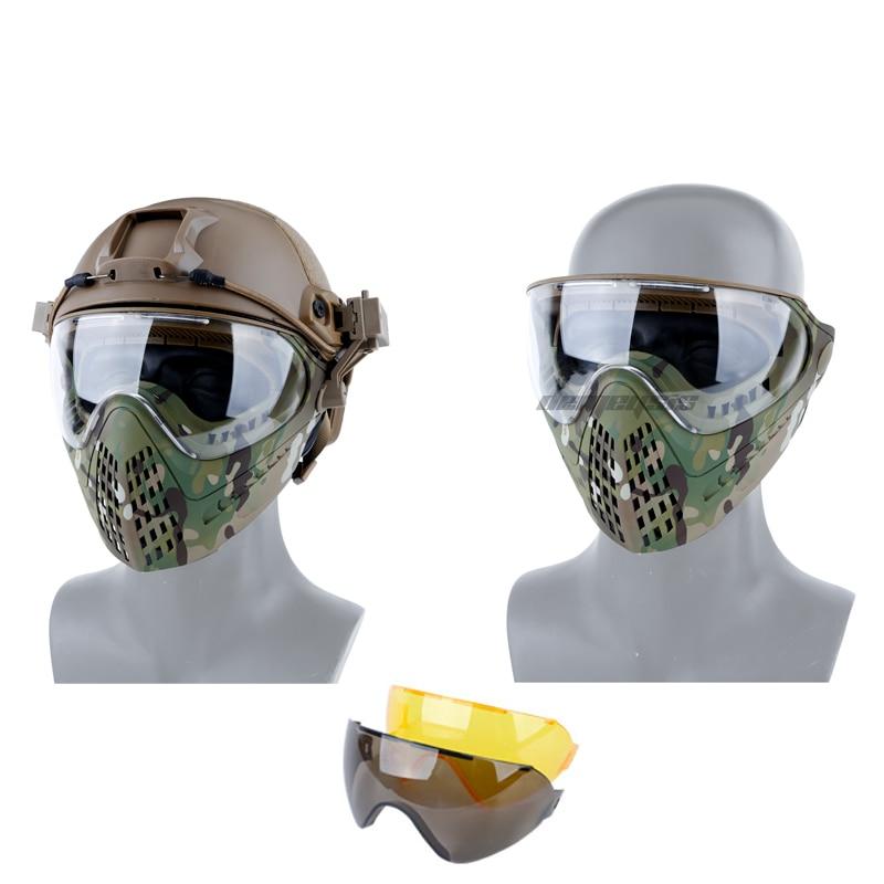3 lentilles tactique masque complet respirant CS jeu chasse militaire masques armée Airsoft Paintball Protection masque