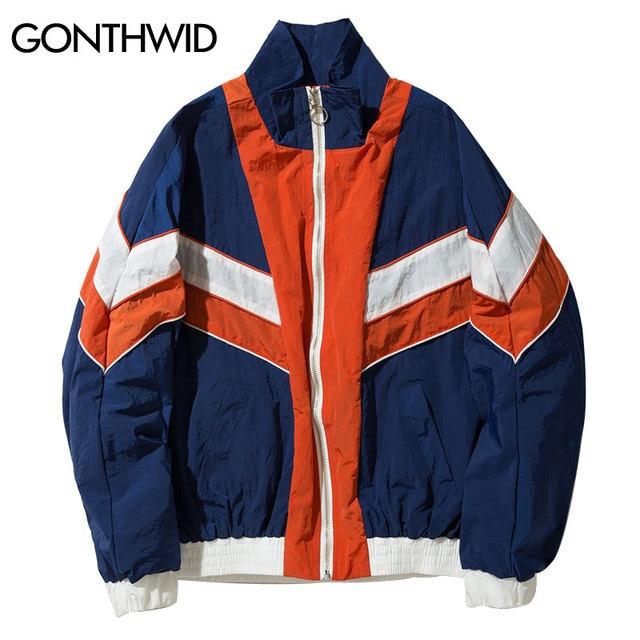 on sale 99bdc 81c57 GONTHWID Vintage Multicolor Color Block Windbreaker Jackets Men 2017 Autumn  Zip Up Jacket Hip Hop Casual