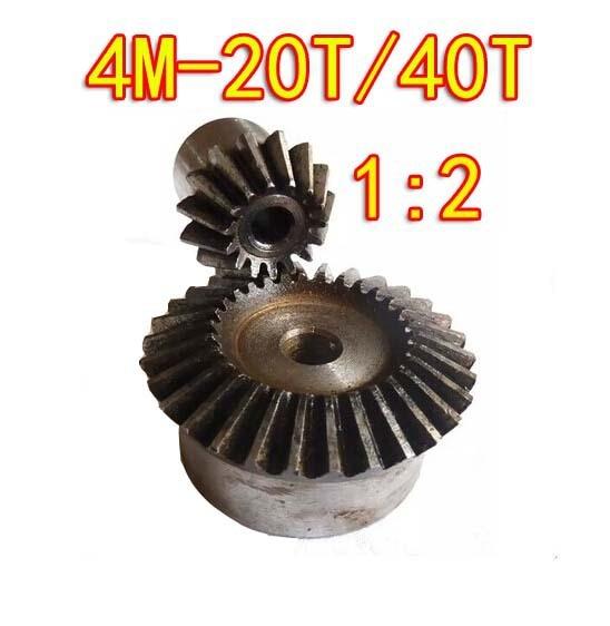 1:2 /4M-20T/40T 90 Degree precision gear drive bevel gear(4M 20 teeth with40 teeth)--2pcs/set 4m солнечная механика 4m