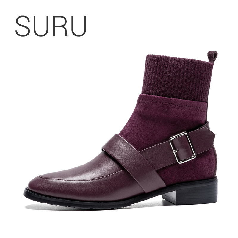 SURU Real Leather Strap Buckle Sock Boots Women Winter Ankle Boots Black / Wine Red size 33 40