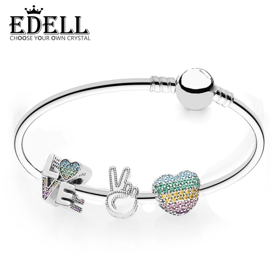 EDELL 100% 925 Silver Genuine Charm RAU0462 Love the Rainbow Bracelet Set Original Women Jewelry Factory direct edell 100% 925 sterling silver new charm cute cow beaded exquisite lucky women gift original jewelry factory direct sales 797609