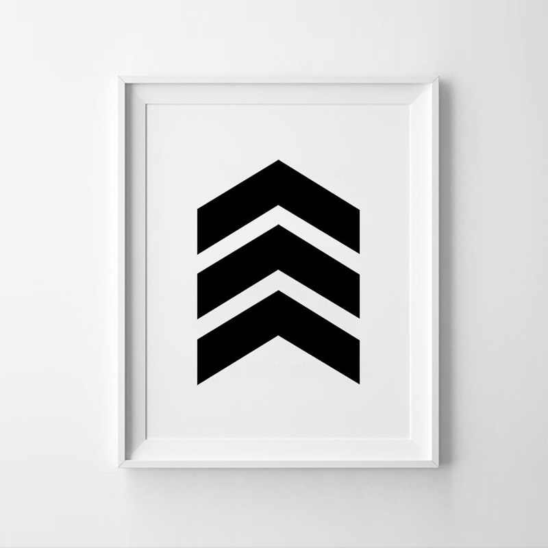 Chevron Print Art Poster Inspirational Wall Home Decor Gift Idea Graphic Geometric Black And