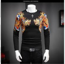 Men's sweaters Mens dragon design color printing personalized fall fashion sweater new arrival KY9090