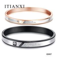 ITIANXI True Love Lovers Bangles Romantic 316L Stainless Steel With Cubic Zirconia Stone Women Men Jewelry