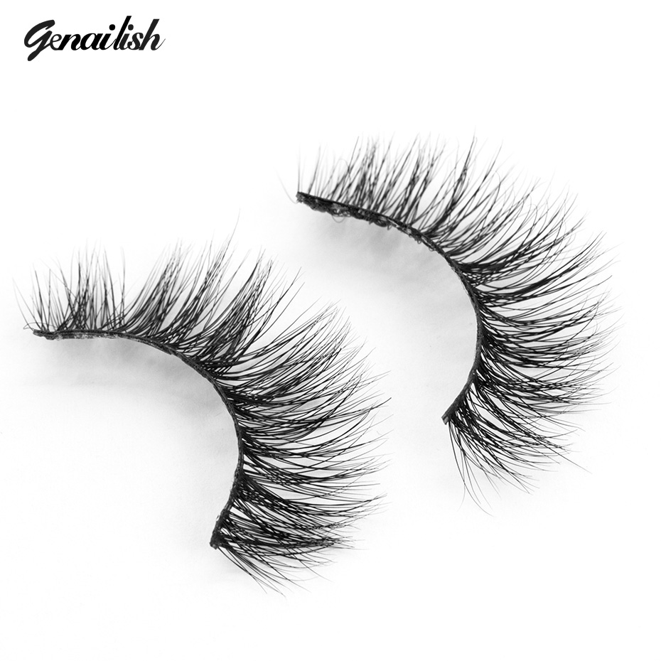 Genailish Mink False Eyelashes Classic Collection Upper Lashes Natural & Lightweight Mink Lashes 1 pair Glitter Packaging <font><b>A10</b></font>