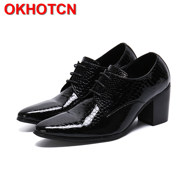 8cm Men High Heels Genuine Leather Dress Shoes Lace Up Black Oxford Shoes For Men Thick Heel Snake Pattern Mens Classic Shoes