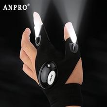 Anpro siyah LED el feneri parmak eldiven balıkçılık sihirli kayış Torch kapak açık Survival kamp yürüyüş kurtarma aracı