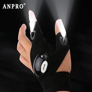 Image 1 - Anpro siyah LED el feneri parmak eldiven balıkçılık sihirli kayış Torch kapak açık Survival kamp yürüyüş kurtarma aracı