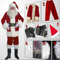 High Quatlity Christmas Costumes Santa Claus For Adults New Year Suit Red Halloween Cosplay Costume Free Shipping