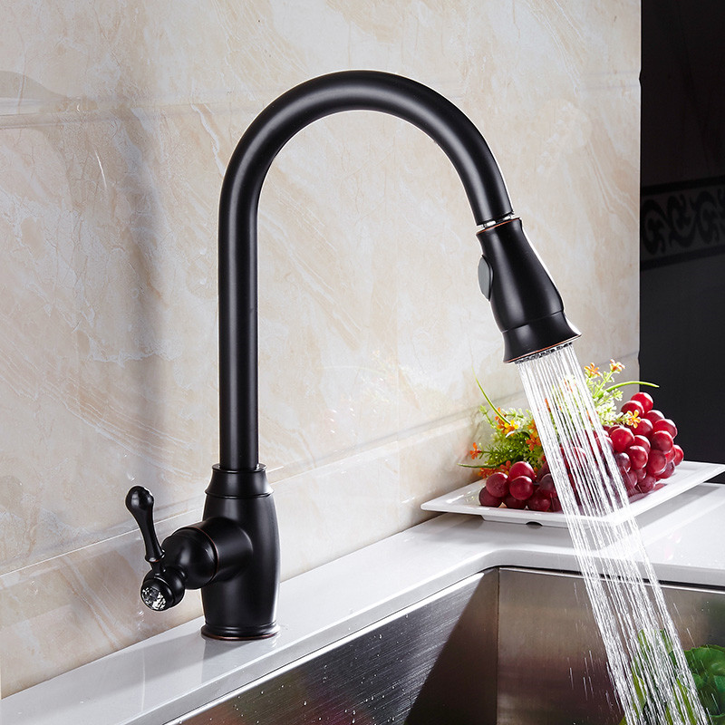 Kitchen faucet Pull Out Down Spout Kitchen Basin Sink Faucet Tap black painted Single Lever One Hole Hot and Cold Mixers tap