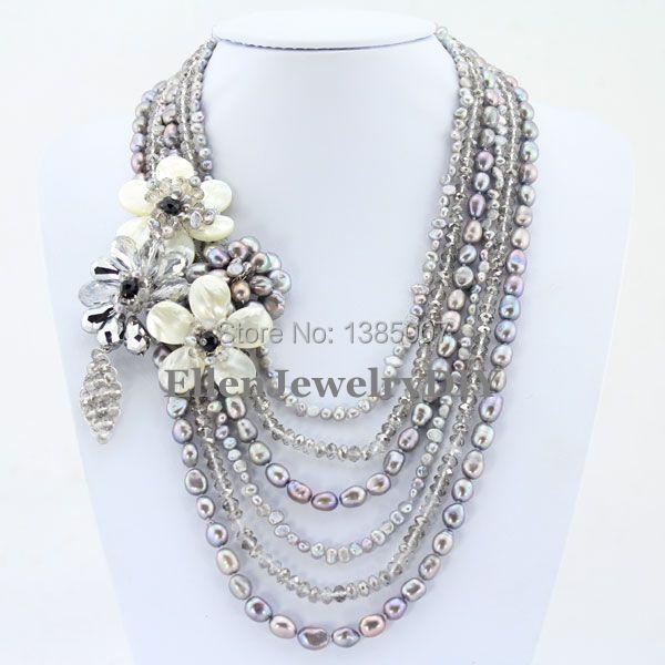 Fascinant collier de perles d'eau douce à 6 rangées de fleurs collier de fête de vacances cadeau collier en coquillage blanc collier en cristal PL5016