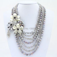 Fascinating 6 Rows Flower Freshwater Pearl Necklace Holiday Party Necklace Gift White Shell Necklace Crystal Necklace PL5016