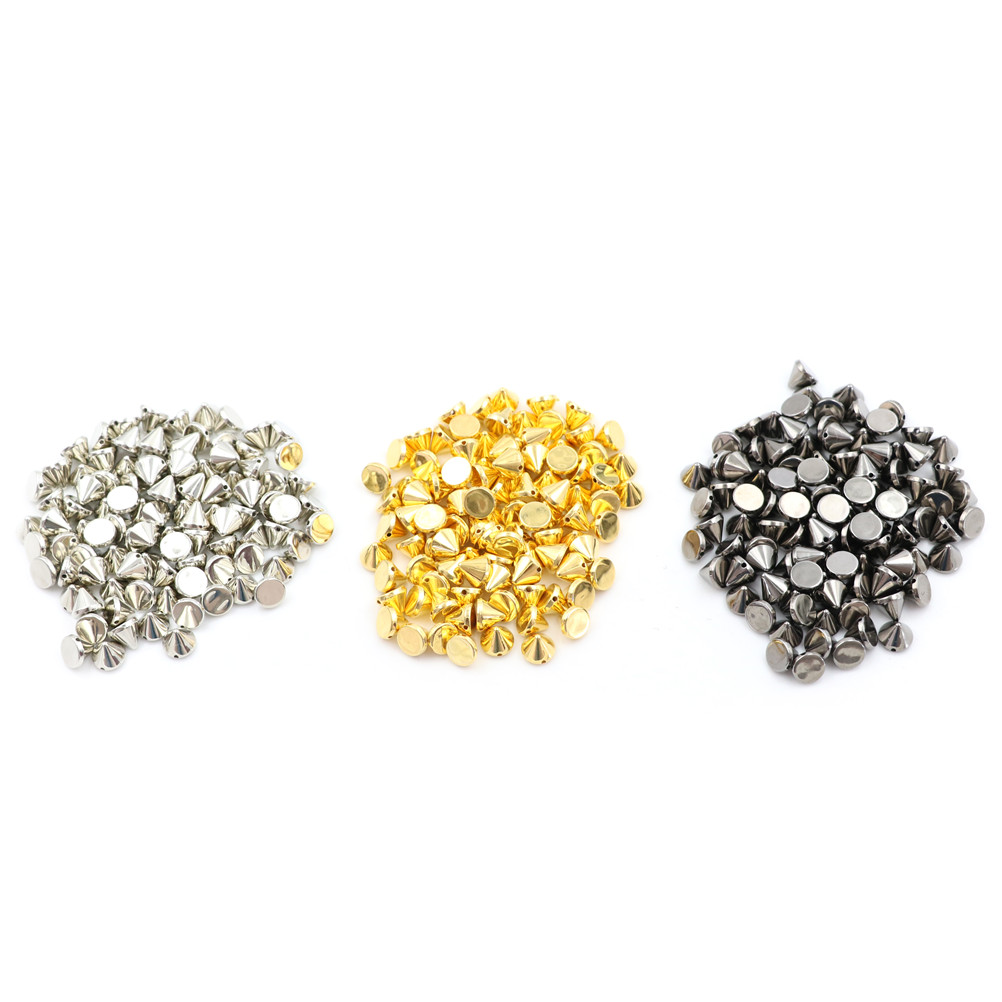 100 Pcs/lot Gold Silver Spike Rivet Studs Nail Punk Rock For Bags Shoe DIY Bead Decoration Riveting 1 5mm 2mm 3mm gold silver hot fix flatback half round nail art rivet punk rock style for 3d nail art decoration