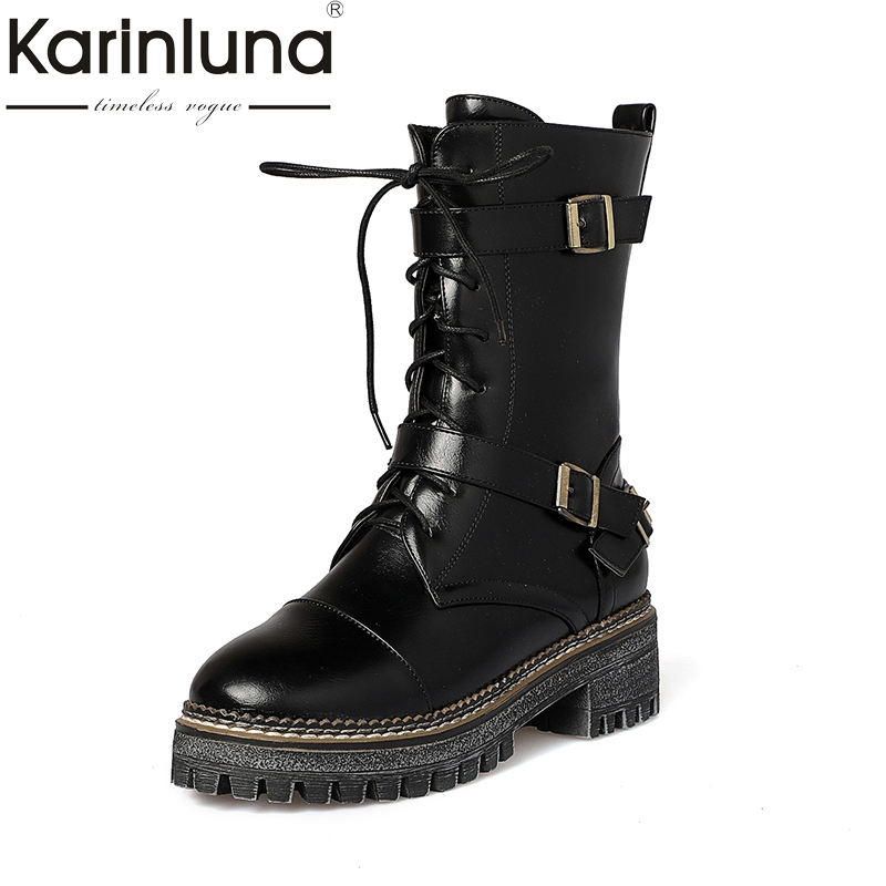 KARINLUNA 2018 Plus Size 34-43 Leisure brand Woman Shoes Fashion Square Heel Add Fur Winter Warm Martin Boots Women karinluna 2018 plus size 30 50 pointed toe square heels add fur warm winter boots woman shoes woman ankle boots female
