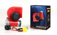 Free Shipping Super Loud Car Motorcycle Truck 12V Red Compact Dual Tone Electric Pump Air Loud Horn Vehicle Siren