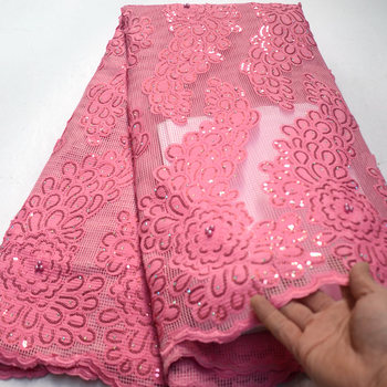 New arrival african sequins high quality Pinkfrench tulle lace fabrics for party dress Nigerian beaded lace fabric TS7833