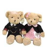 35 cm 1 par Teddy bears peluche relleno juguetes ritual ropa ama peluche brinquedo niños niñas regalos de navidad decoración del partido