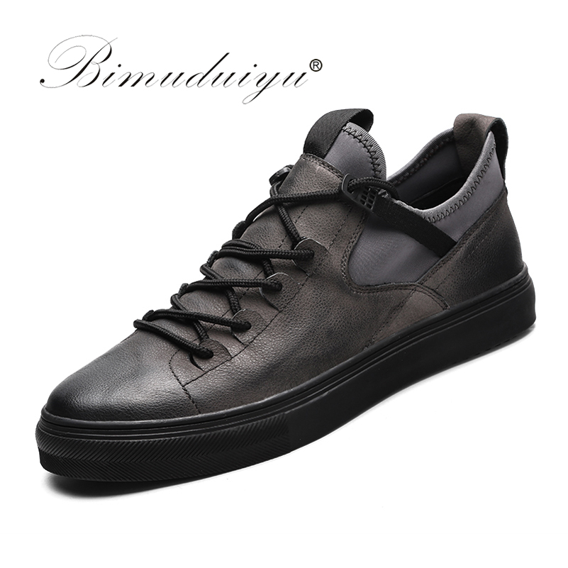 BIMUDUIYU Genuine Leather First Grade Cow Leather Sneakers Men's Casual Shoes Fashion Male Lace up Flats Breathable Black Shoes glowing sneakers usb charging shoes lights up colorful led kids luminous sneakers glowing sneakers black led shoes for boys