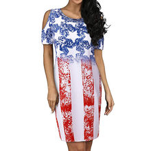 Women Round Neck Cold Shoulder Short Sleeve USA Flag Printed Casual Midi Dress with flower decoration on the dress estivo #4(China)